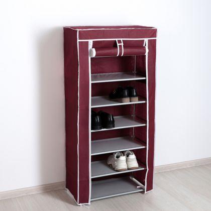 Полка для обуви 7 ярусов, бордовая, 60 x 30 x 120 см