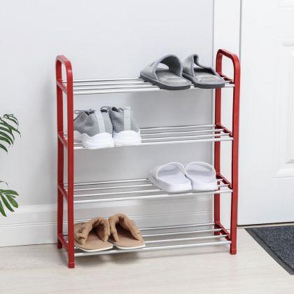 Полка для обуви на 4 яруса, красная, 50 x 19 x 60 см