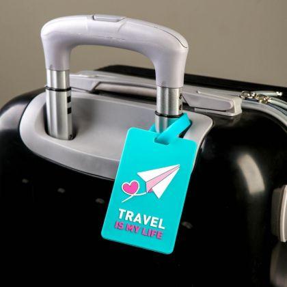 Бирка для чемодана «Самолетик», 6,5 х 0,4 х 10,5 см