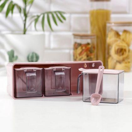 Набор банок для сыпучих продуктов, на подставке, 3 шт, 27 x 12 x 10 см