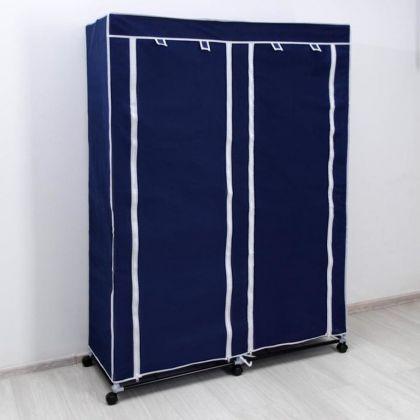 Тканевый шкаф для одежды, синий, 120 х 50 х 175 см