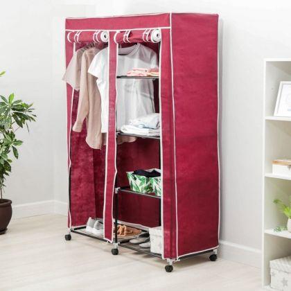 Тканевый шкаф для одежды, красный, 120 x 50 x 175 см