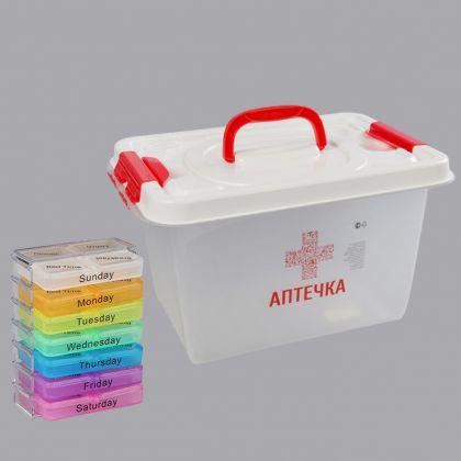 Комплект из таблетницы на 7 контейнеров по 4 секции и аптечки, 10 л