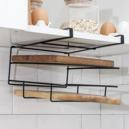 Держатель для кухонных принадлежностей подвесной, черный, 25 х 24 х 17,5 см