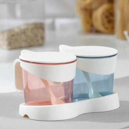 Набор банок для сыпучих продуктов, на подставке, 2 ложки, 2 шт, 14,5 x 11 x 8 см