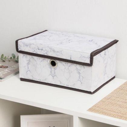 Короб для хранения с крышкой «Marble», белый, 30 x 19 x 14 см