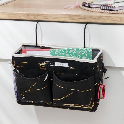 Органайзер с карманами подвесной «Marble», 3 отделения, черный, 31 x 11 x 27 см
