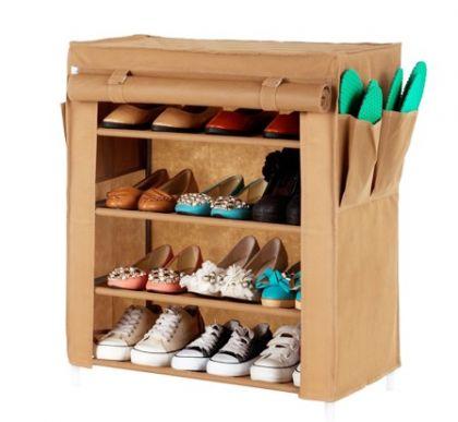 Тканевый шкаф для обуви Маджор, коричневый