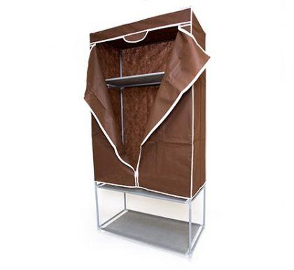 Тканевый шкаф с полкой для обуви, шоколадный