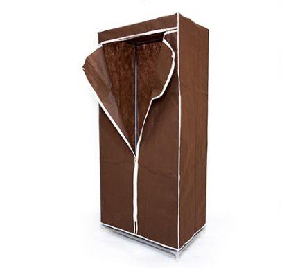 Тканевый шкаф для длинной одежды, шоколадный