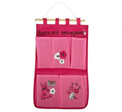 Органайзер на стену, 5 карманов, розовый, 52 x 30 см