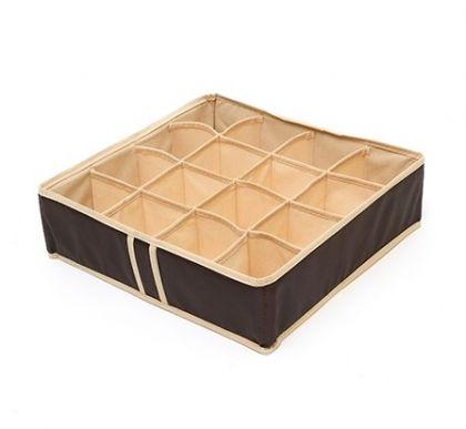 """Органайзер для нижнего белья на 16 ячеек """"Costa-Rica"""", шоколадный, 35 х 35 х 10 см"""