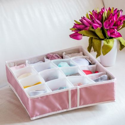 "Органайзер для нижнего белья на 16 ячеек ""Capri"", розовый, 35 х 35 х 10 см"