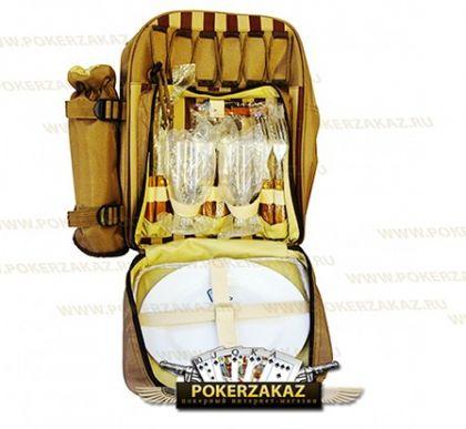 Набор для пикника, Рюкзак с холодильником на 2 персоны, бежевый