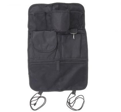 Органайзер на спинку 7 карманов в авто, черный, 24 х 19 х 2 см