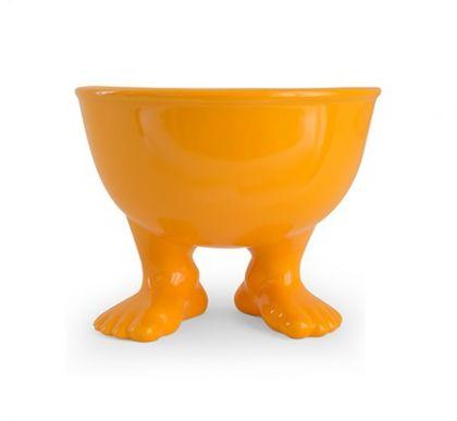 Миска на ножках оранжевого цвета средняя