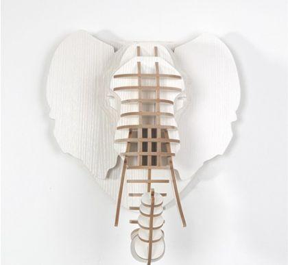 Настенный декор Голова Слона, белая