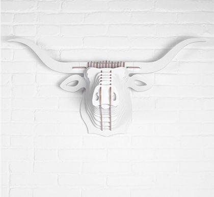 Настенный декор Голова Быка, белая