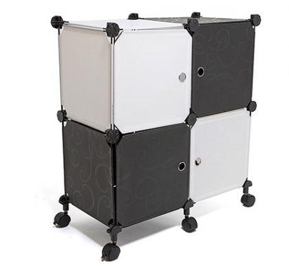 Стеллаж универсальный из 4 модулей на колесиках