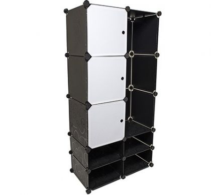 Кубический шкаф из 10 модулей с дверцами и перекладиной для одежды