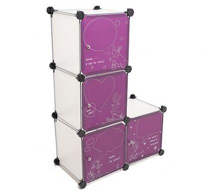 Кубический шкаф из 4 модулей с дверцами