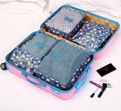 6 органайзеров для багажа Синий Цветок