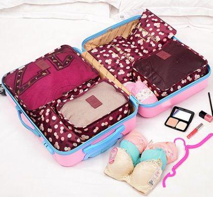 6 органайзеров для багажа Бордовый Цветок