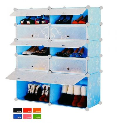 Стеллаж обувной из 10 кубов, разные цвета