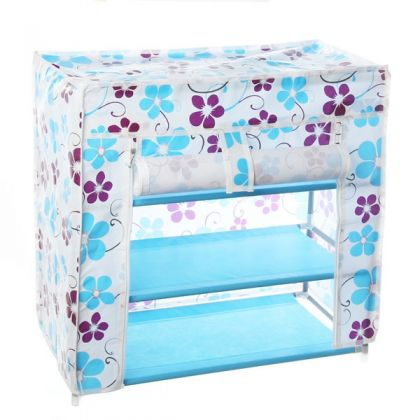 Тканевый шкаф для обуви с 3 полками, цветы