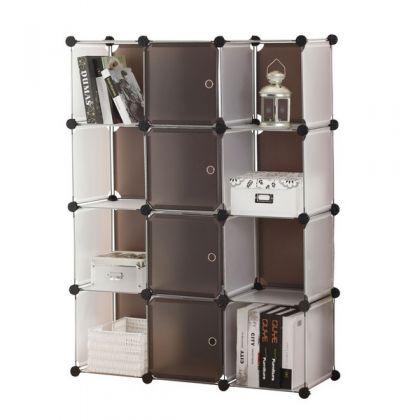 Стеллаж универсальный из 12 кубов с дверцами
