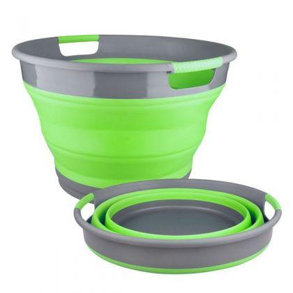Корзина для хранения белья складная 9,5 л., зеленая