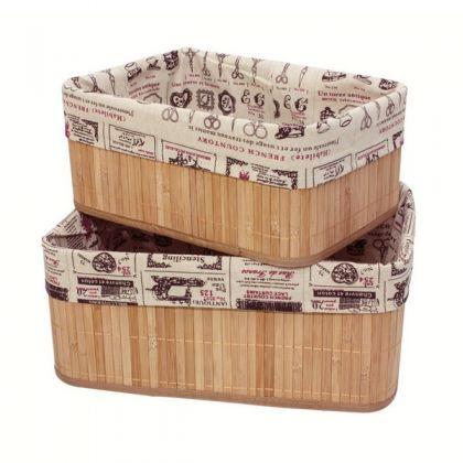 Набор из 2 коробок из бамбука для хранения вещей, франция