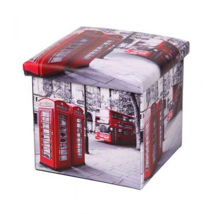 Коробка-пуф для хранения Телефонная будка, 38x38x38 см