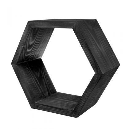 Полка настенная Шестиугольник 30 см, черная