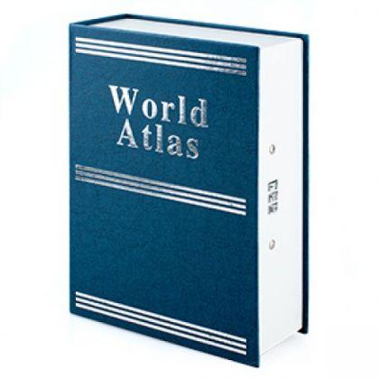 Шкатулка-книга с кодовым замком World Atlas, синяя