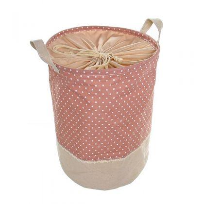 Корзина для белья 44x33 см, розовая в крапинку