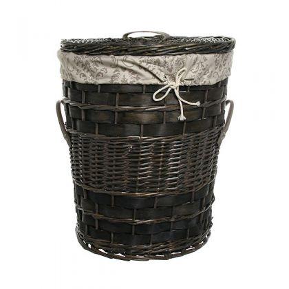 Корзина для белья 48x52 см плетенная, черная