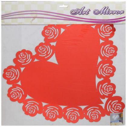 Наклейка зеркальная Сердце 60x60 см, разные цвета