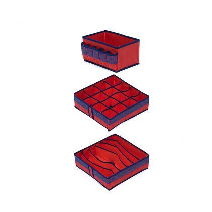 Комплект органайзеров на 6, 16 ячеек и коробка для косметики Rosso