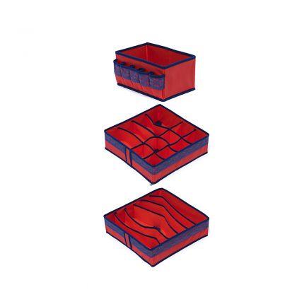 Комплект органайзеров на 6, 12 ячеек и коробка для косметики Rosso