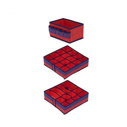 Комплект органайзеров на 16, 12 ячеек и коробка для косметики Rosso