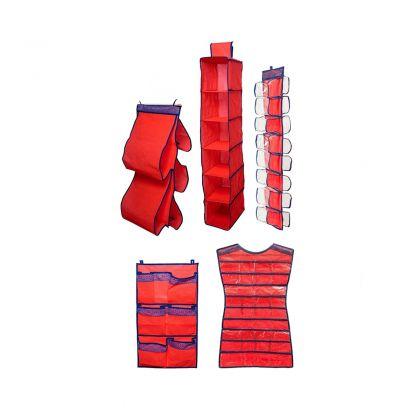 Комплект подвесных органайзеров в шкаф, для колготок, шарфов и мелочей, для сумок, платье и 7 карманов Rosso