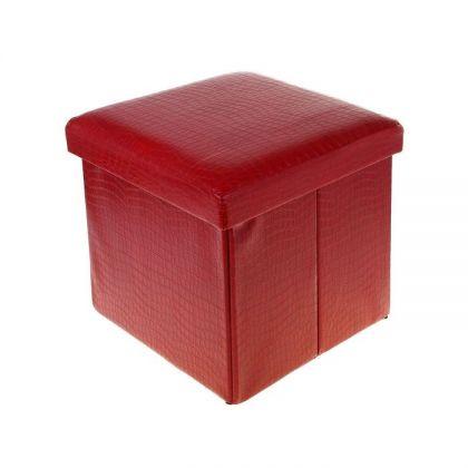 Коробка-пуф для хранения складная, красная