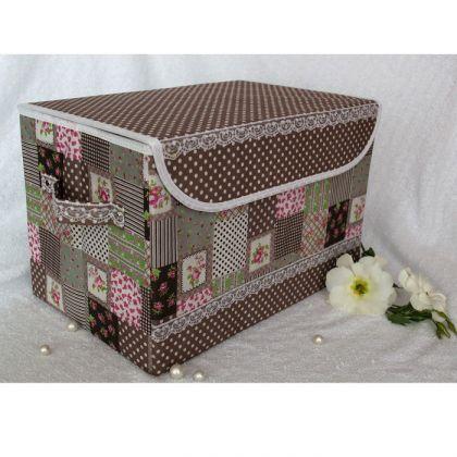 Коробка для хранения вещей с крышкой, какао лайм 38*25*25см