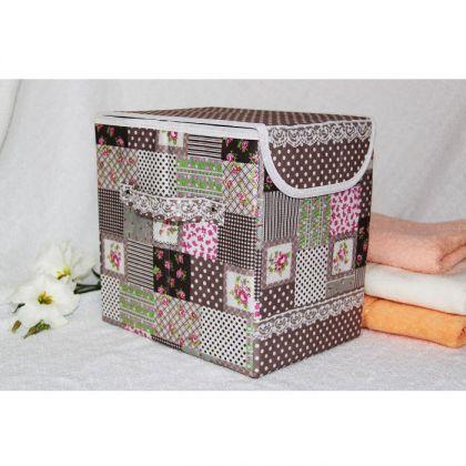 Коробка для хранения вещей с крышкой, какао лайм 25*18*25см