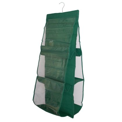 Подвесной органайзер для сумок в шкаф зеленый