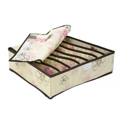 Органайзер для хранения бюстгалтеров ванильный листок на 7 ячеек с крышкой