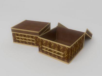 Коробка для хранения коричневая с узором 30х30х17см
