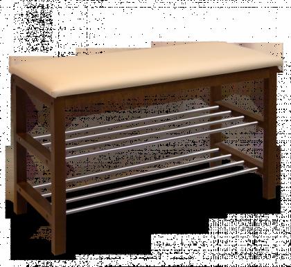 Банкетка модель 1, темный орех, бежевая