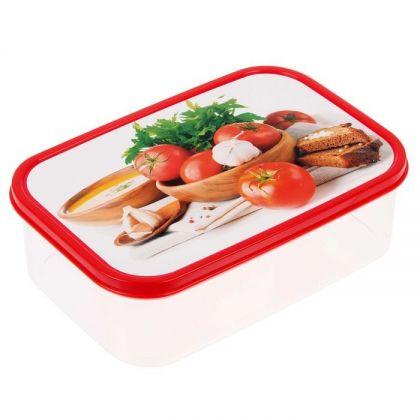 Коробка для еды прямоугольная 1,2л, Помидоры, зелень и чеснок